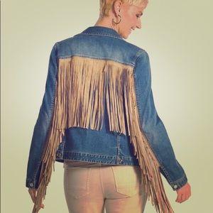 NWOT Chico's Platinum Fringe denim jacket